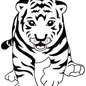 A Cute Tiger Cub Learn to Walk Properly Coloring Page