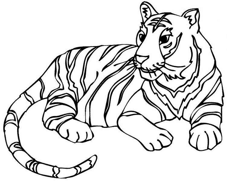 a fulfiled adult tiger after its meal coloring page - Coloring Page Tiger
