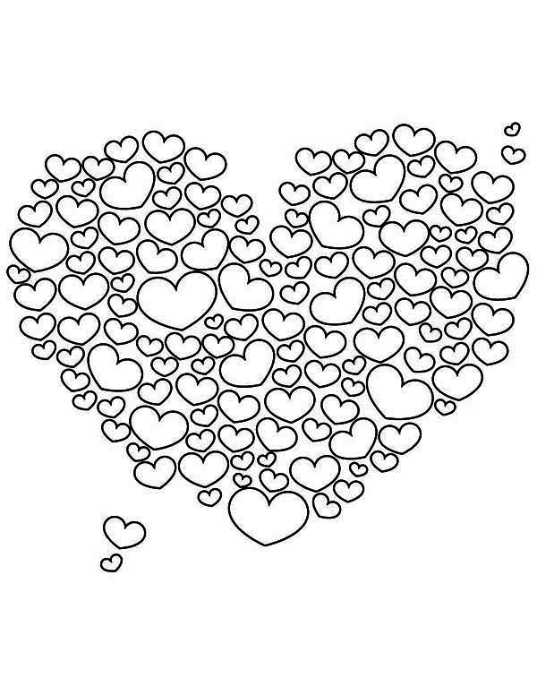 a giant heart shaped cloud on valentines day coloring page - Valentine Day Coloring Pages