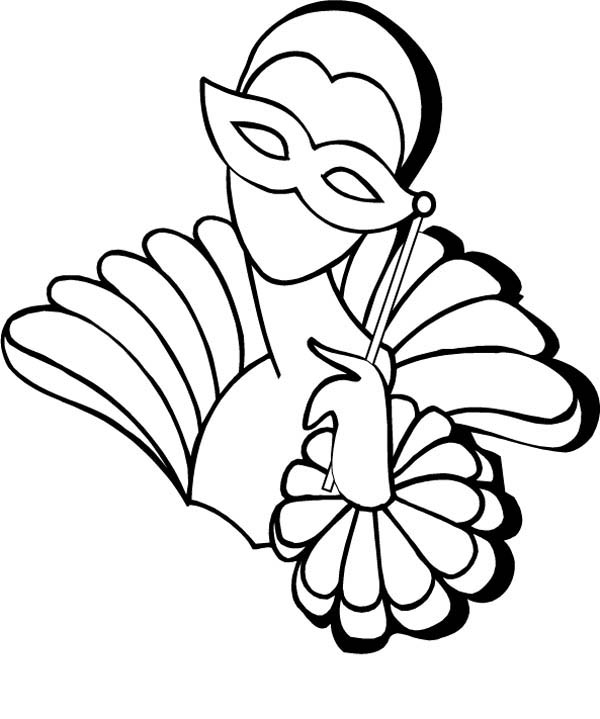 a lady wearing handled mask on mardi gras coloring page