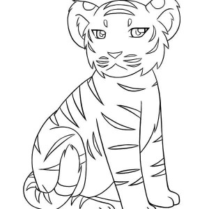A Little Tiger Cub Not In Good Mood Today Coloring Page
