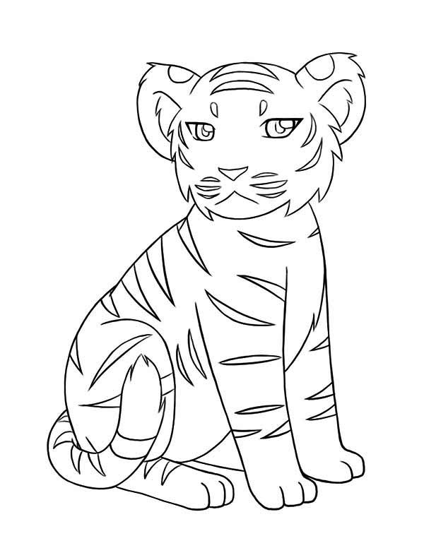 tiger coloring page. A Little Tiger Cub Not In Good Mood Today Coloring Page in a