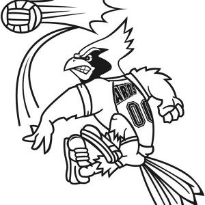 ARDS mascot doing volleyball service coloring page
