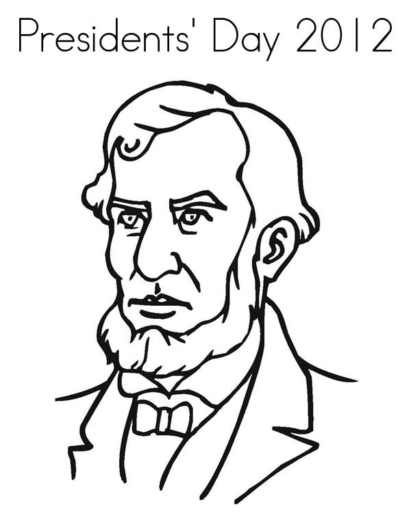 Presidents Day Abe Lincoln Figure On Coloring Page