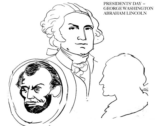 Abe Lincoln And George Washington On Presidents Day Coloring Page