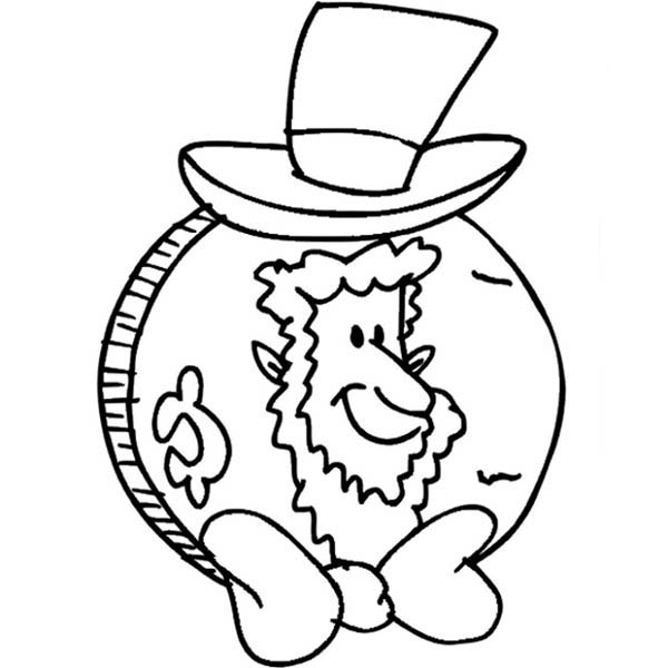 Abraham Lincoln Coin for Presidents Day Coloring Page Download