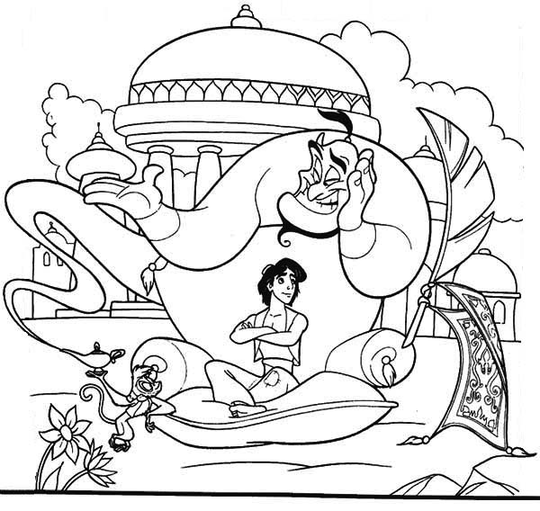 Abu, Aladdin and Genie Have a Relax in Palace Garden Coloring Page .
