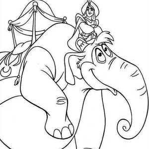 Aladdin Riding the Elephant Abu in the Magic Parade Coloring Page