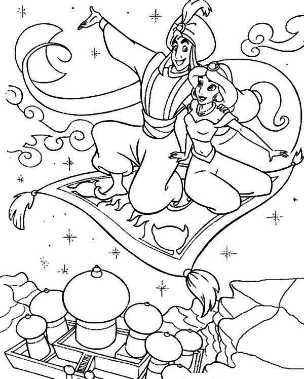 Aladdin Showing Jasmine the Whole Agrabah from Above Coloring Page