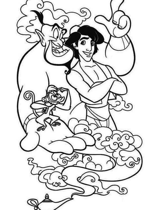 aladdin and his two companion  abu and genie coloring page