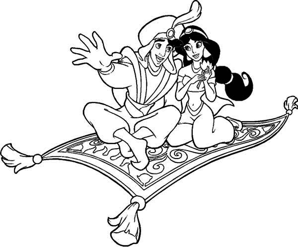 aladdin and jasmine riding the magic carpet coloring page - Aladdin Jasmine Coloring Pages