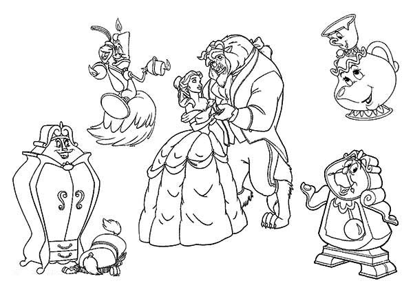 All The Beauty And Beast Characters Coloring Page
