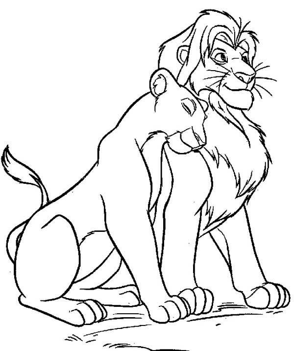 Amazing Simba and Nala Coloring Page Download Print Online