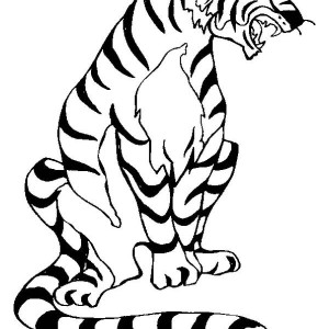 An Angry Tiger in a Bad Mood Coloring Page