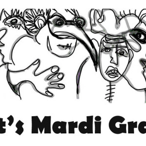 An Artistic Sketch of Mardi Gras Figures Coloring Page