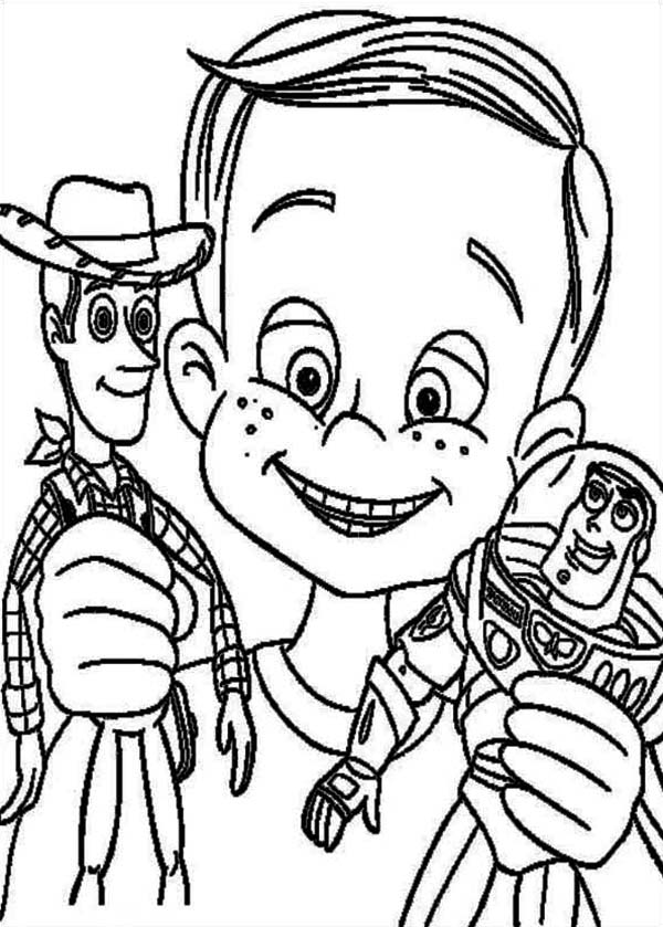 Andy Davis Holding Woody and Buzz in Toy Story Coloring