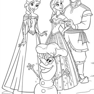 Anna Elsa Kristoff and Olaf Coloring Page