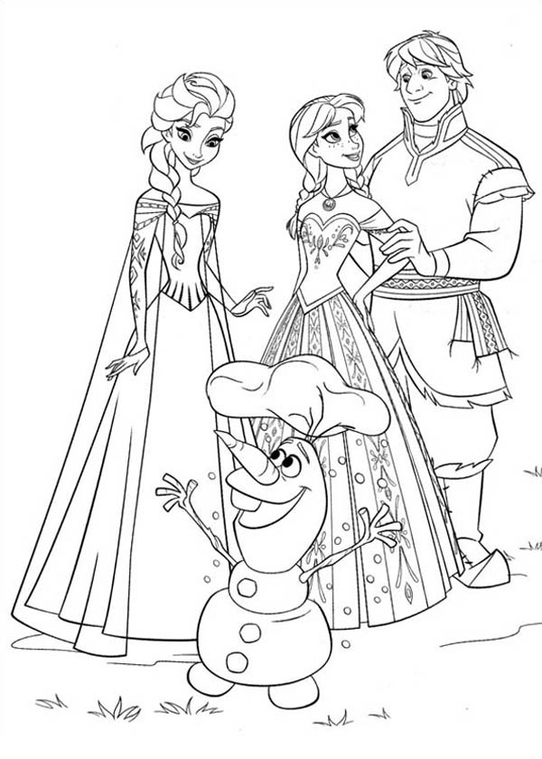 Frozen Anna Elsa Kristoff And Olaf Coloring Page