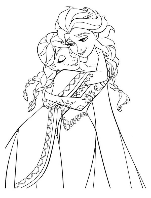 frozen anna hugging elsa the snow queen coloring page