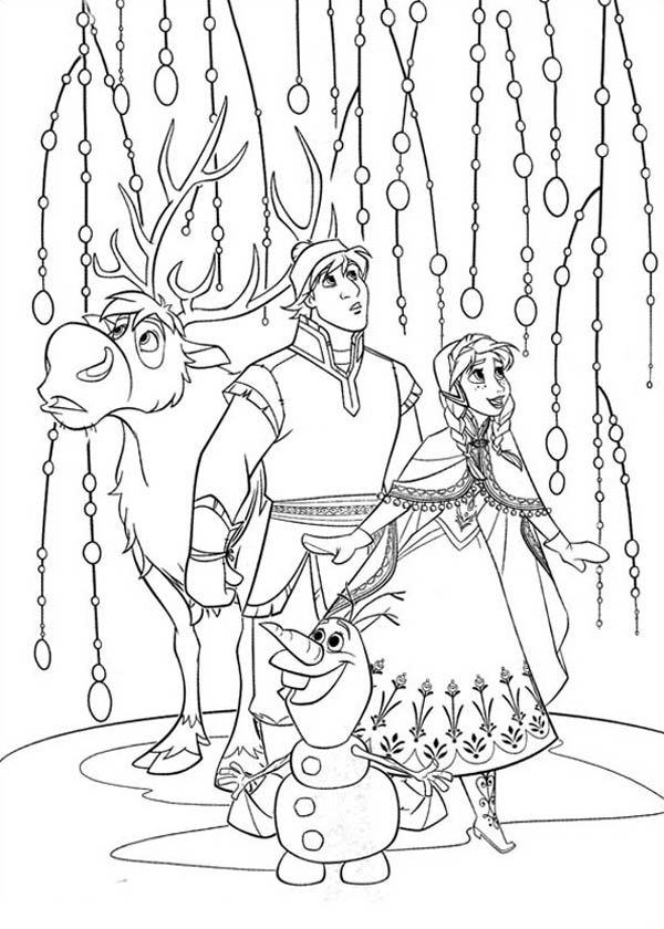Olaf Coloring Pages Online. Anna Kristoff Sven And Olaf Look Something Amazing Coloring Page and