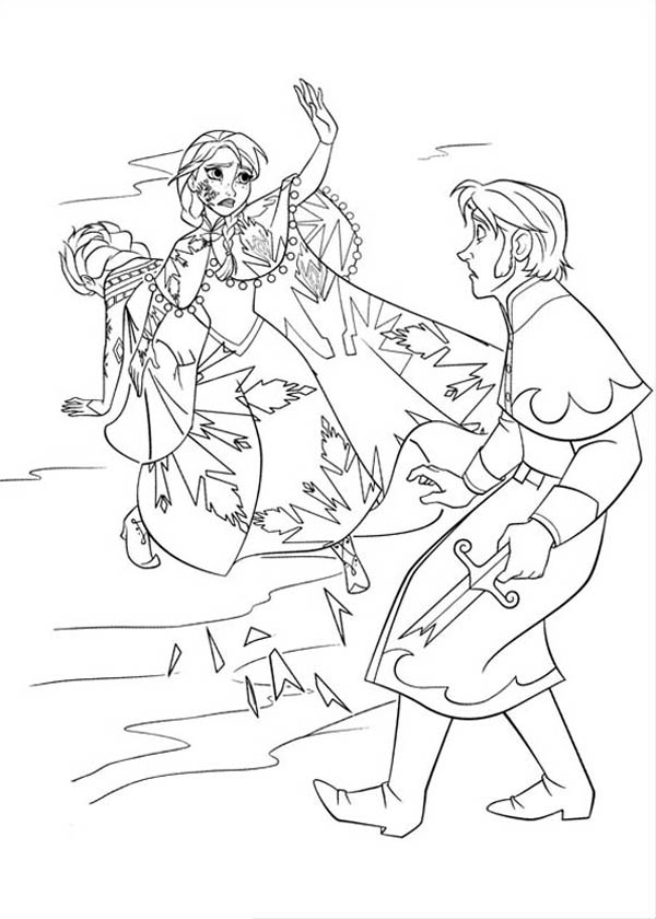 Frozen Anna Protecting Elsa From The Duke Of Weseltons Thugs Coloring Page