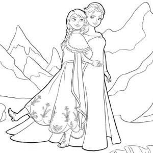 Anna and Elsa Standing Side by Side Coloring Page