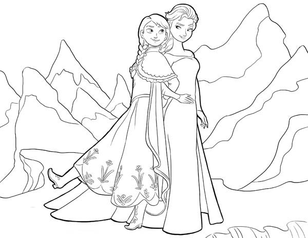 Frozen Anna And Elsa Standing Side By Coloring Page