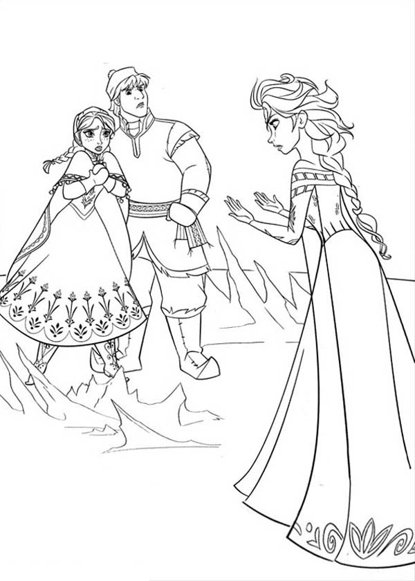 Frozen Anna And Kristoff In Arguing With Elsa Coloring Page