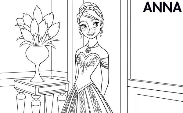 Anna in beautiful dress coloring page