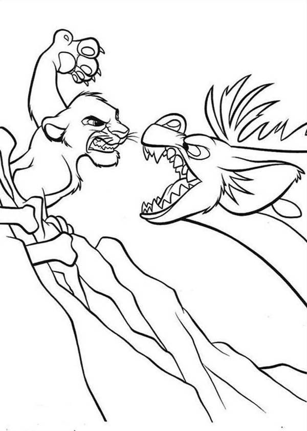 Awesome Simba and Hyena Fighting Coloring Page - Download & Print ...