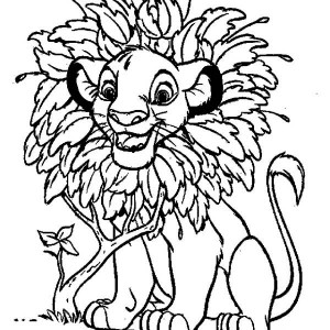 awesome simba with leaves hair coloring page