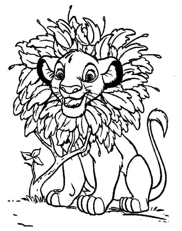Awesome Simba with Leaves Hair Coloring Page Download Print