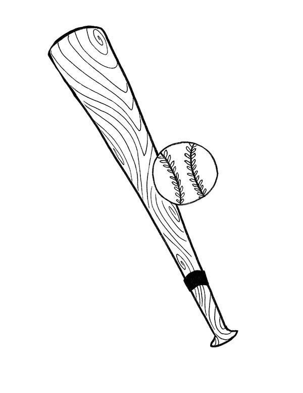 Baseball Bat and Ball Coloring Page - Download & Print Online ...