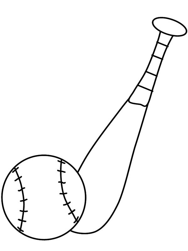 Baseball Bat and a Ball Coloring Page  Download  Print Online