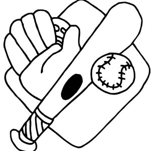 Baseball Glove, Bat, Ball and Mount Coloring Page