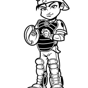 Baseball Player Catcher Coloring Page