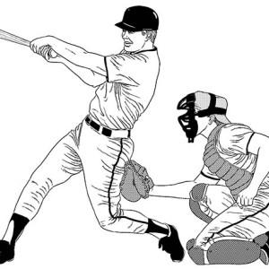 Baseball Player Hitting a Homerun Coloring Page