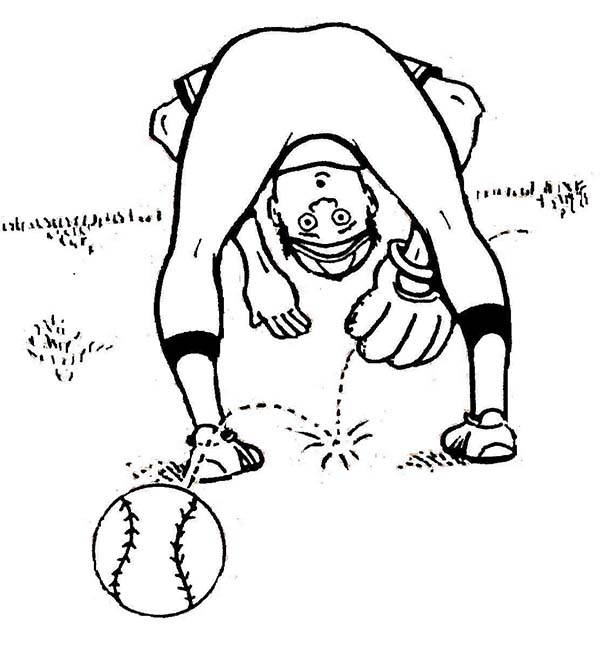 Baseball Player Lose the Ball Coloring Page: Baseball Player Lose ...