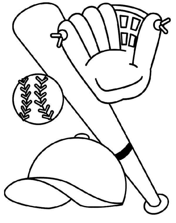 Bat Glove Hat and Baseball Coloring Page Download Print
