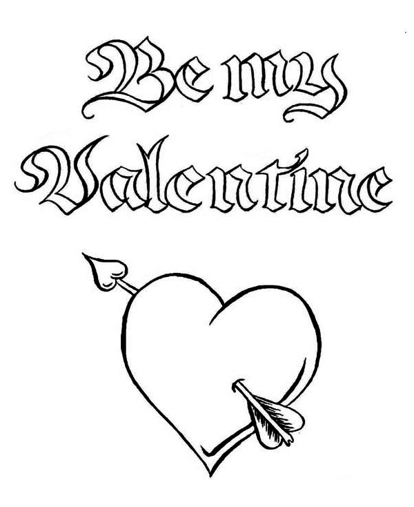Be my valentine a magic word on valentines day coloring page