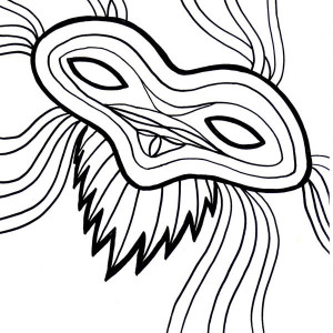 Beautiful Mardi Gras Mask for the Parade Coloring Page