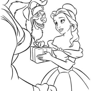 Belle Give the Beast a Present Coloring Page