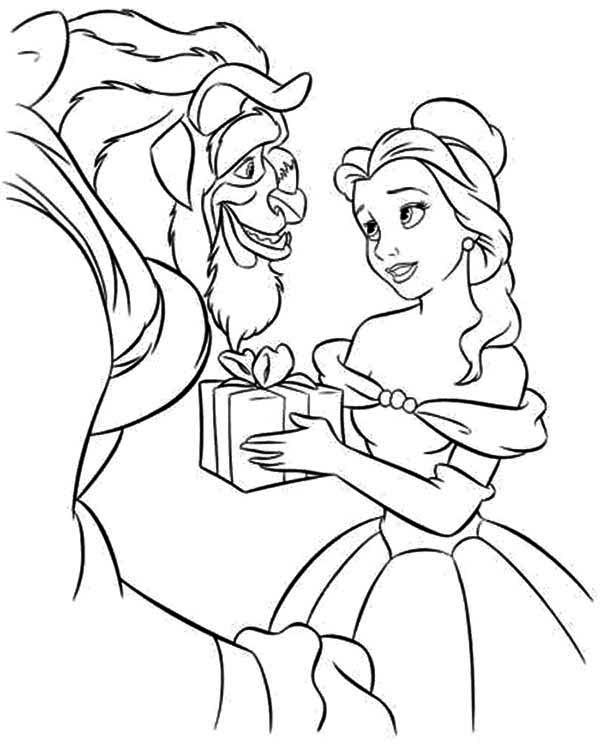 Beauty And The Beast Belle Give A Present Coloring Page