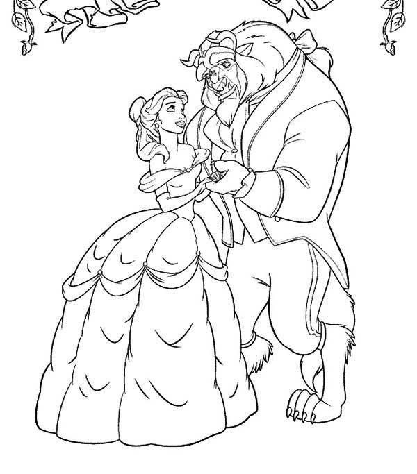 dancing with the stars coloring pages - belle and the beast dancing in the garden coloring page