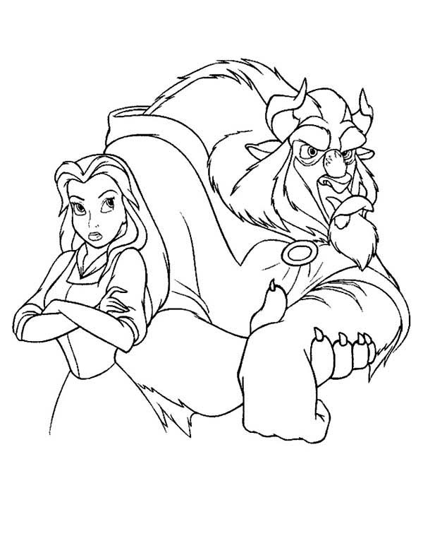 beauty and the beast belle and the beast are angry to each other coloring - Belle Pictures To Color
