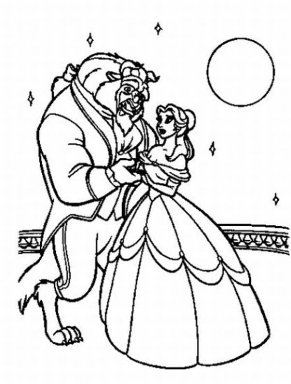 Beauty And The Beast Belle Best Dancing In Moonlight Coloring Page