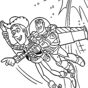 Buzz Helps Woddy by Flying in Toy Story Coloring Page