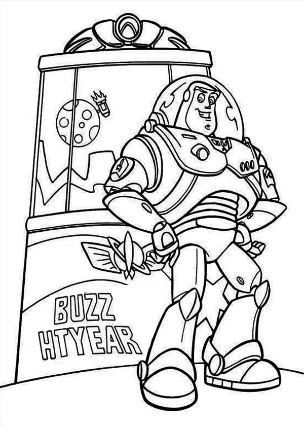 buzz lightyear in front of toy machine in toy story coloring page - Buzz Lightyear Coloring Pages Free