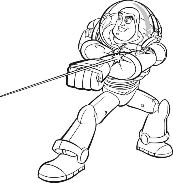 Buzz Lightyear and His Awesome Laser in Toy Story Coloring Page