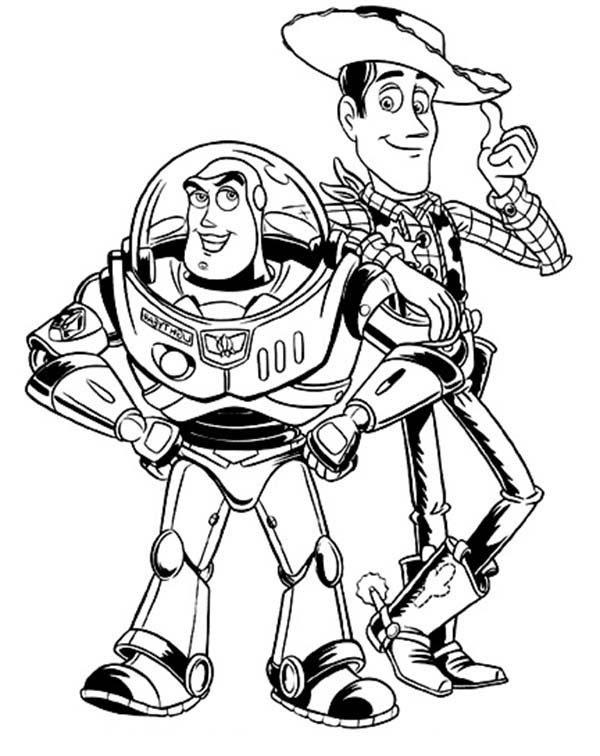 buzz lightyear and woddy in toy story coloring page